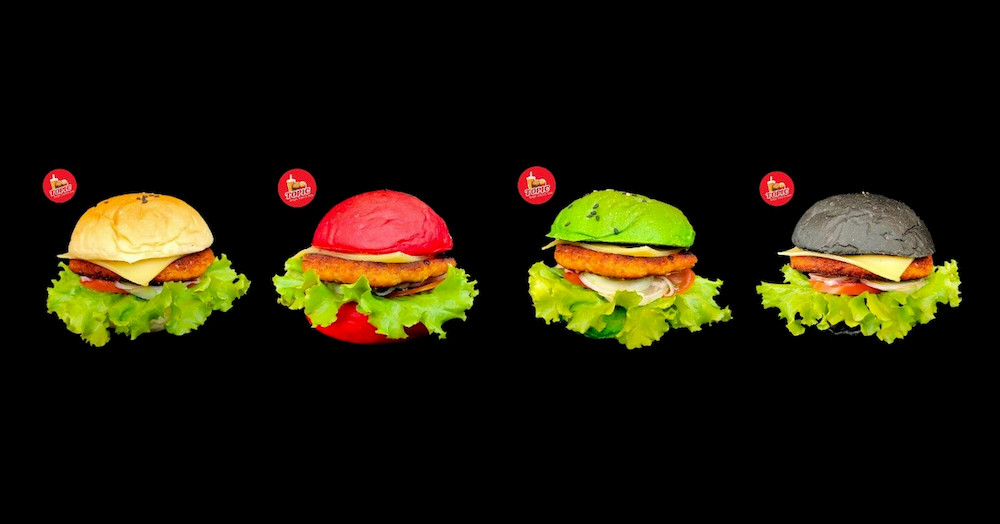 A unique and colorful little burger shop